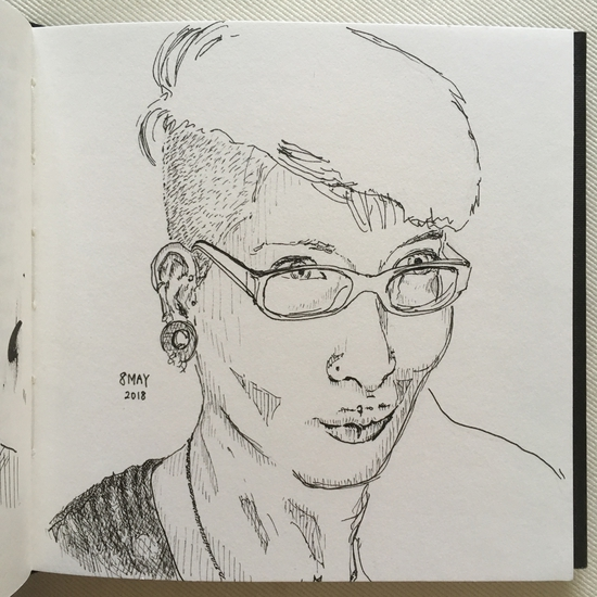 #May8 Drawing is about the present, the now; Fountain pen on Seawhite of Brighton sketchbook