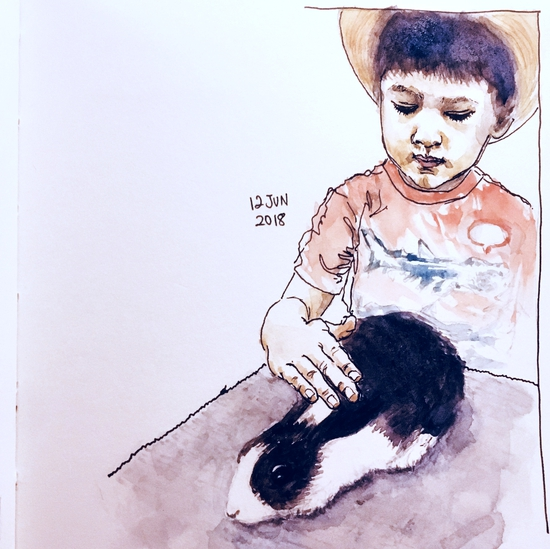 Owen and the rabbit; Watercolour