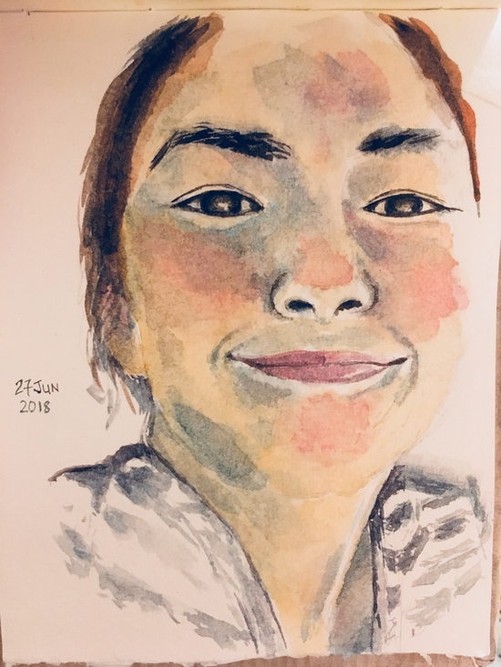 Self portrait; Watercolour