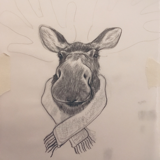 The final moose; Pencil on tracing paper