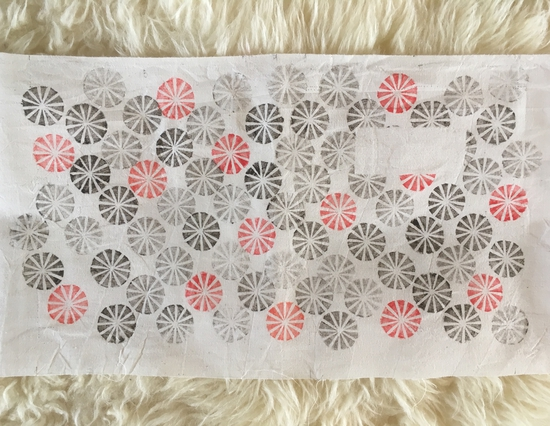 Red circles; Indian wood block print on fabric