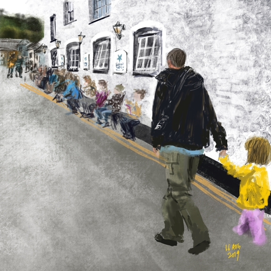 Marnie in Mevagissey; Gouache brushes on Procreate