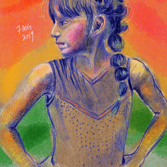 Gymnast; Riso brush set (by Tip Top Brushes) on Procreate