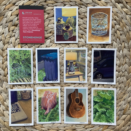 The minipad gouache collection; Gouache on Stonehenge mini pad
