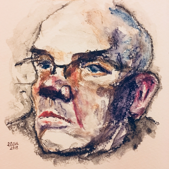 Inktense man with comber brush; Derwent Inktense blocks on Bockingford paper